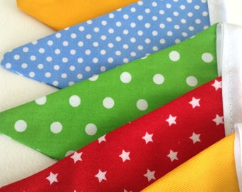 Bright Little Polka Dot Fabric Bunting. Primary Colours. 8 Flags
