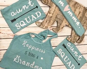 Baby Shower Tanks, Momma, Aunt Squad, Grandma Shirt