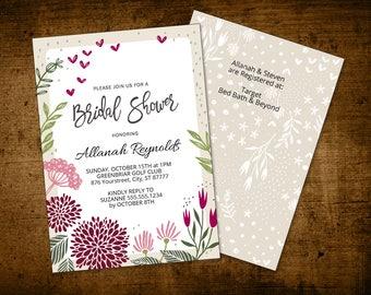 Bridal Shower Invitation Instant Download Printable PDF Template Watercolor Floral Marsala Burgundy Wine (5x7 - 2 sides)