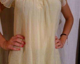 Yellow silk short sleeve tunic
