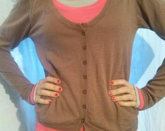 Brown silk and cotton, modal long sleeve pullover
