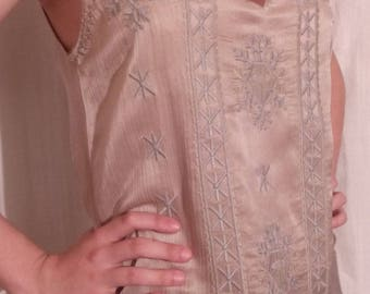 Embroidered silk and cotton beige tank top