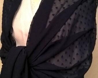 Blue chiffon wedding shawl