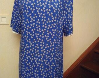 Blue printed cotton short sleeve dress