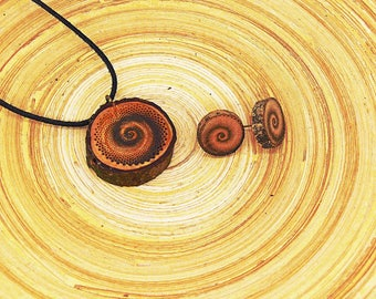 "Soul slices ""Spiral 1"" set necklace + Stud Earrings 13-20mm, Vintage * Ethno * hippie * MUST have * statement *"