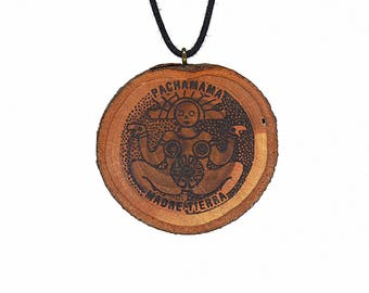 "Soul slices ""Pacha mama"" wooden necklace, Vintage * Ethno * hippie * MUST have * statement *"