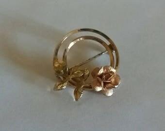 Gold Rose Pin Vintage Rose Brooch