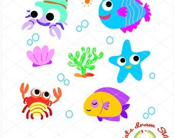 fish svg, nemo svg, baby shower svg, AI EPS Svg Pdf Dxf Png Jpg Silhouette Studio,Cricut Cameo Files, Silhouete cut hipocampo estrella de