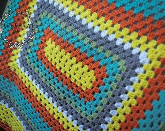 Crochet Granny Rectangle Blanket - Ready to Ship!