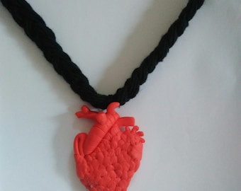 Anatomical heart long necklace