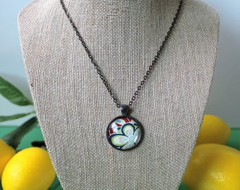 Round Glass Dome Necklace, Floral
