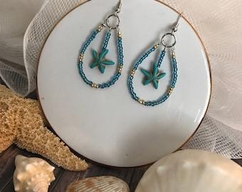 Turquoise Starfish Drop Earrings