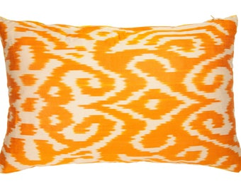 Colorful Bright Orange And Pine Apple Yellow Pure Silk Ikat Throw Pillow