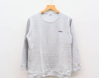 Vintage FILA Small Logo Sportswear Gray Sweater Sweatshirt Size L