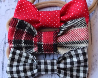 Red, Black, Creme Plaid Hair Bow, Black and White Gingham Hair Bow, Red Polka Dot Hair Bow. Set of all 3. Nude Nylon Band. Alligator Clip.