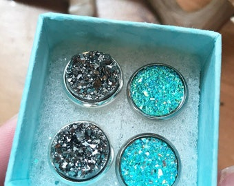Druzy Silver and Teal