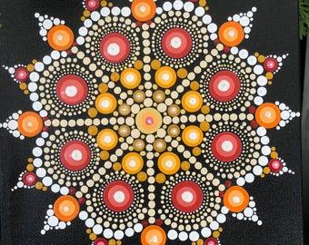 Hand painted Dot Mandala 8x8