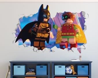 Lego Batman Robin Wall Decal - Lego Batman Smashed Sticker - Movie Kids 3D Smashed Art - LS171
