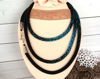 Black blue necklace Long Seed Beaded Lariat Transformer Necklace Statement Beadwork necklace Gift for woman Gift for her