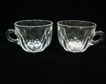 Vintage Heisey Clear Panel Glass Cups Lot Of Two Signed