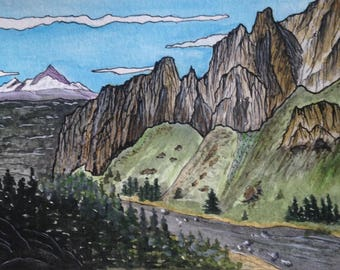 Smith Rock | Watercolor Print | Watercolor Landscape