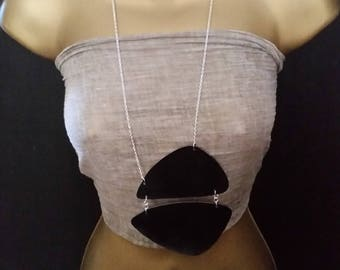 black faux leather boho langelook necklace