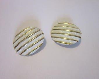 Wonderful Gold Tone & Sparkling Enamel Clip on Earrings