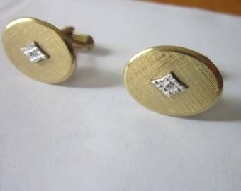 Antique Designer Artisan  Gold Filed & Diamond Fancy Men's Cuff Links