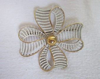 Vintage Enameled White & Gold Tone Large Tied Christmas Present Bow Brooch