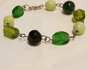 Chunky Jewelry - Olive Green Bracelet - Green Beaded Bracelet - Beaded Link Bracelet - Green Bracelet - Chunky Bracelet - Green Jewelry