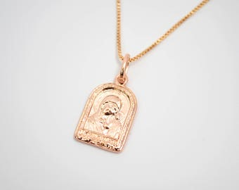 Rose Gold Medallion Necklace / Gold Medal Necklace / Virgin Mary Necklace