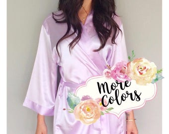 SALE! Plain Satin Robes, Bridesmaid Robes Set of 1, 2, 3, 4, 5, 6, 7, 8, 9, 10, 11, 12, Bridesmaid gifts, Bride Robe, Getting Ready Robe