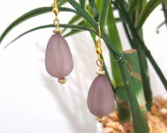 Grey frosted tear drop shaped bead earrings