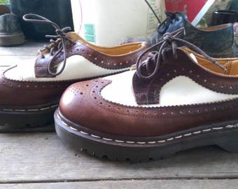 Brown and white brogues Doc Martens