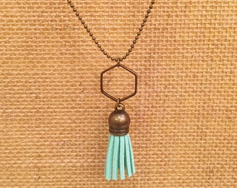 Little girls mint green mini tassel necklace with hexagon pendant in antique brass