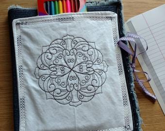 Color Me Cover Denim Journal, Composition, Notebook Cover, Jacket, Reusable