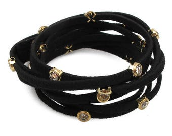 Black suede wrap bracelet with diamante stations
