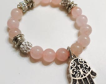 Rose Quarzt Hamsa Bracelet with Crystal Charms