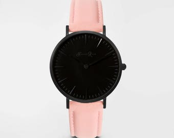 Ladies Watch, Women Leather bracelet, minimalist, gift for her, cheap leather watch, Christmas Watch, Pink Leather (Black/Black)