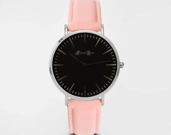 Ladies Watch, Women Leather bracelet, minimalist, gift for her, cheap leather watch, Christmas Watch, Pink Leather (Silver/Black)