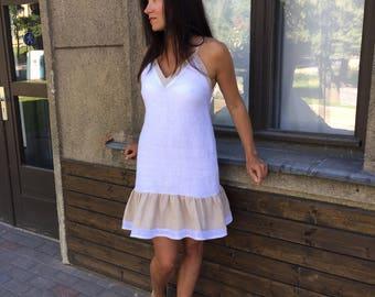 White ruffle linen dress, women linen dress, soft linen dress, linen strap dress, beige spaghetti strap linen dress, ruffle dress