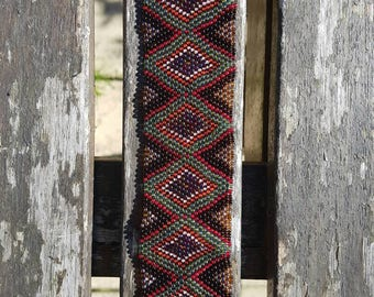 Vintage Peyote beading wrist cuff,aztec,tribal pattern peyote stitch