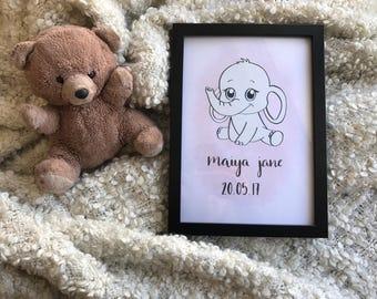 Custom baby elephant nursery print A4
