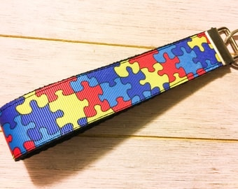 Autism puzzle key fob / autism awareness / i love someone with autism