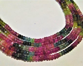ON SALE -AAA Natural  Multi Tourmaline  3.5 to 4mm faceted rondelle Beads, tourmaline  loose Beads strand, GemStone Necklaces Jewellery.
