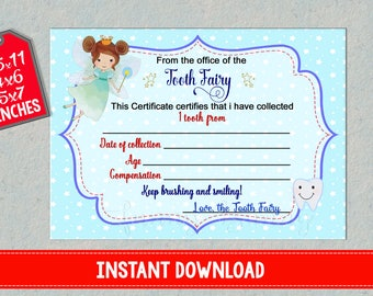 Tooth Fairy Certificate First lost teeth report printable Baby loosing receipt for boys Record instant download