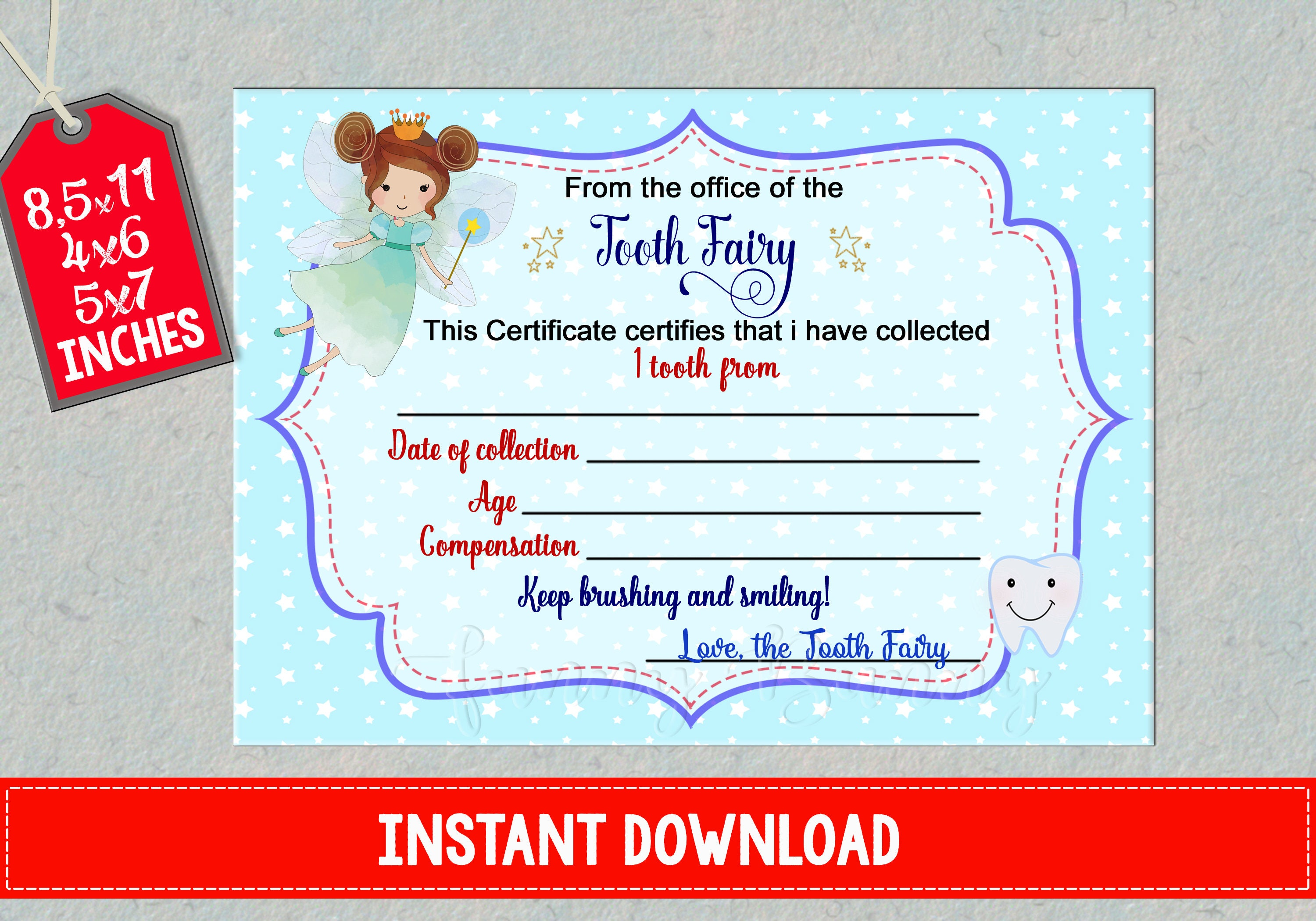 Tooth fairy certificate first lost teeth report printable baby zoom xflitez Choice Image