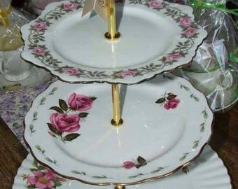 Vintage 3 Tier Bone China Cake Stand ideal for Weddings, Afternoon Tea, cupcake display, dessert stand, jewellery stand Royal Albert