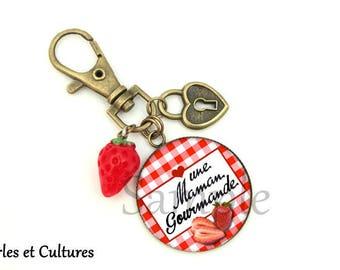 A gourmet Strawberry gingham MOM keychain