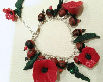Sterling Silver, Porcelain and Polymer Clay Bracelet